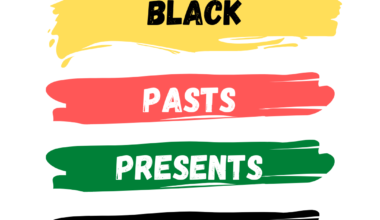"""Four swipes of paint go down the image, in yellow, red, green, and black. Text reads """"Black Pasts, Presents, Futures"""" with one word per paint swipe."""