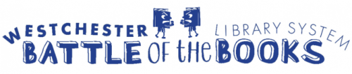 """Logo with the words """"Westchester Library System Battle of the Books"""" featuring two anthropomorphic books with faces getting ready to punch each other in the center."""