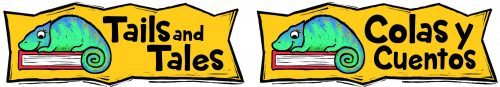 """A mustard-yellow box with jagged edges. Inside, a blue-green iguana sitting on a red book lying on its side next to the words """"Tails and tales."""" Next to this box, a second, identical one with the word """"Colas y Cuentos."""""""