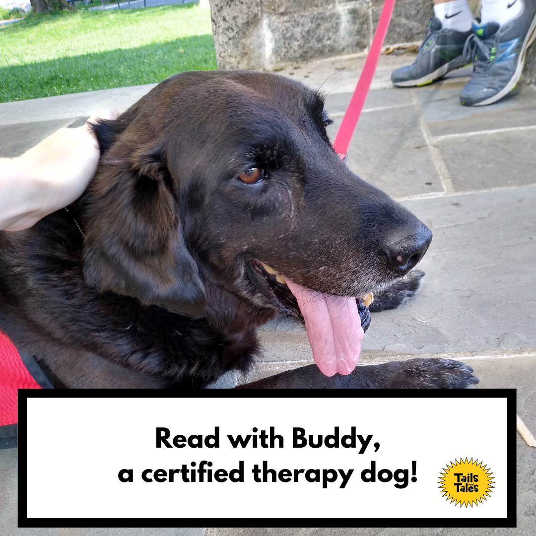 Paws for Reading with Buddy on the Library terrace (Registration)