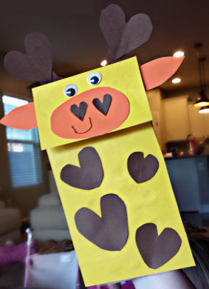 Take & Make Paper Bag Giraffe Puppets Craft Kit for Kids - Limited Supply / Contact the Library to schedule a pick up