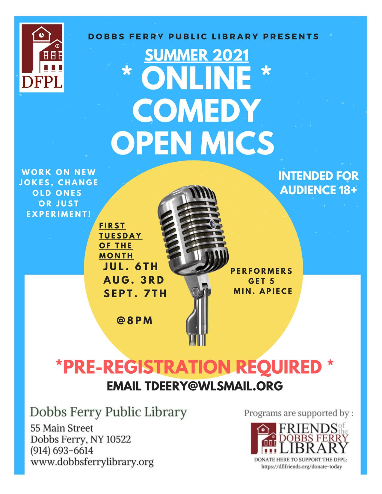 Comedy Open Mic (Virtual/Monthly) – hosted by Tim Deery (Registration)