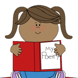 """Girl with brown skin and brown hair in pigtails wearing blue jeans and purple sneakers, sitting cross-legged. She is holding a red book that says """"My Poetry"""" on the cover."""