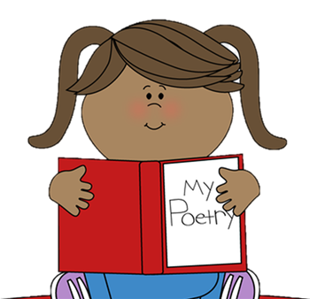 "Girl with brown skin and brown hair in pigtails wearing blue jeans and purple sneakers, sitting cross-legged. She is holding a red book that says ""My Poetry"" on the cover."