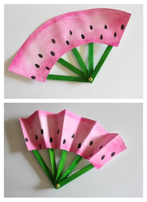 Take & Make Watermelon Fans Craft Kit for Kids - Limited Supply / Contact the Library to schedule a pick up