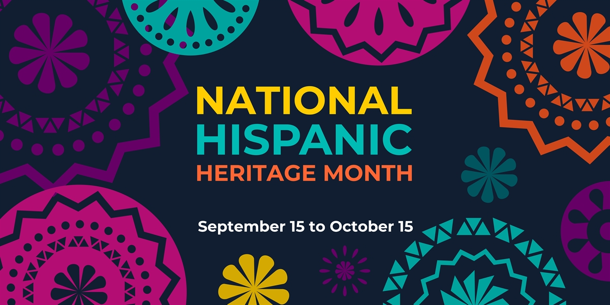 """Colored paper cut-outs surround the words """"National Hispanic Heritage Month September 15-October 15"""""""